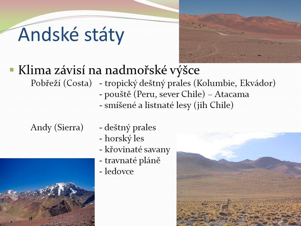 Andské státy  Klima závisí na nadmořské výšce Pobřeží (Costa) - tropický deštný prales (Kolumbie, Ekvádor) - pouště (Peru, sever Chile) – Atacama - s