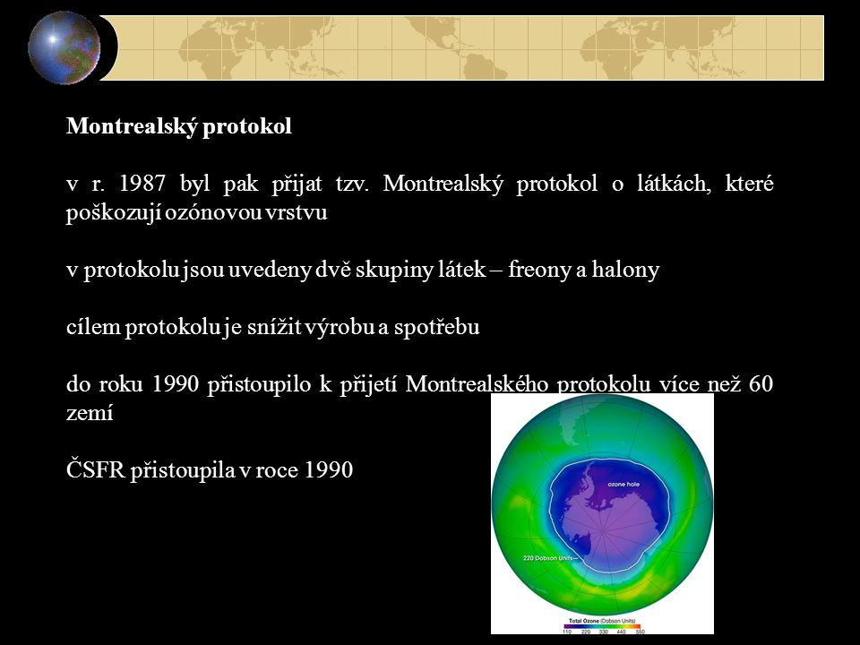Montrealský protokol v r. 1987 byl pak přijat tzv. Montrealský protokol o látkách, které poškozují ozónovou vrstvu v protokolu jsou uvedeny dvě skupin