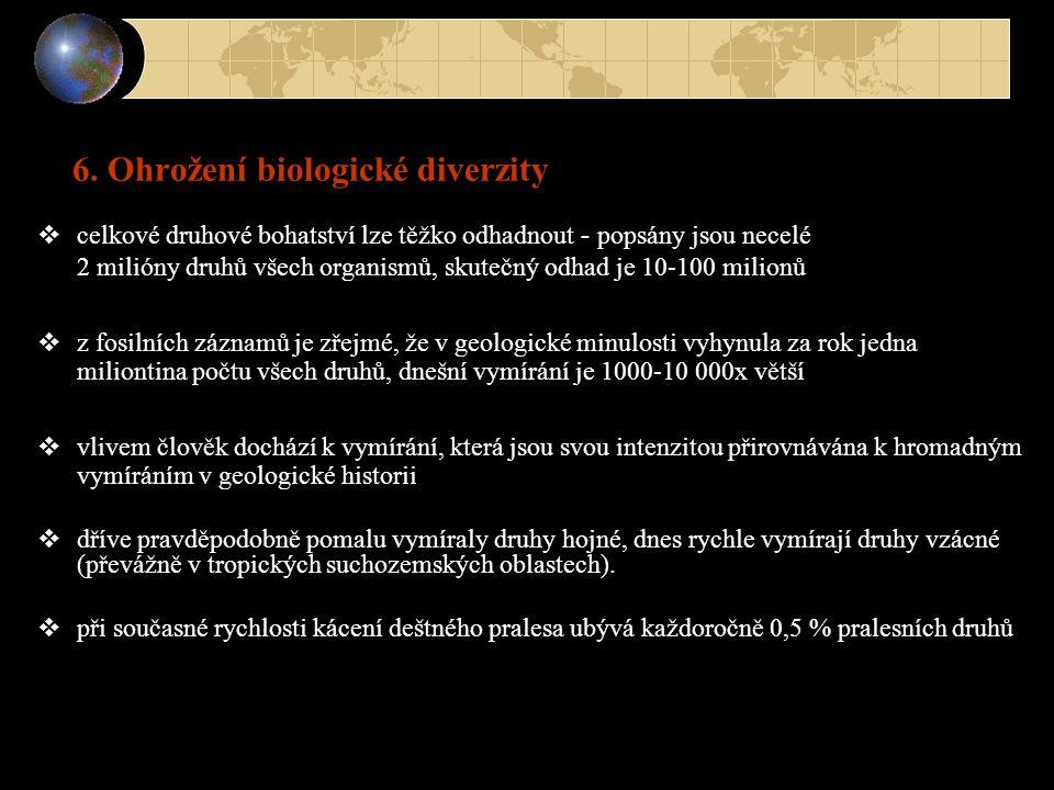  celkové druhové bohatství lze těžko odhadnout - popsány jsou necelé 2 milióny druhů všech organismů, skutečný odhad je 10-100 milionů  z fosilních