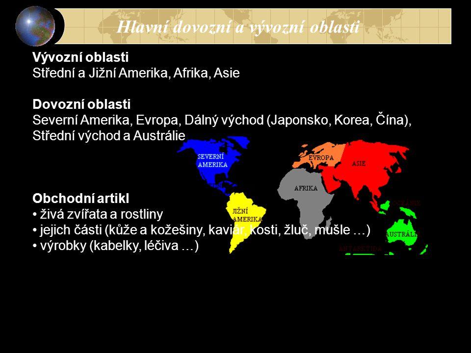 Hlavní dovozní a vývozní oblasti Vývozní oblasti Střední a Jižní Amerika, Afrika, Asie Dovozní oblasti Severní Amerika, Evropa, Dálný východ (Japonsko