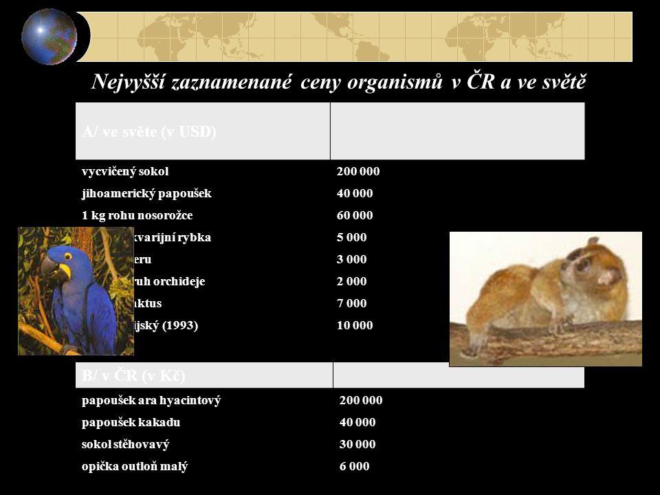 A/ ve světe (v USD) vycvičený sokol200 000 jihoamerický papoušek40 000 1 kg rohu nosorožce60 000 asijská akvarijní rybka5 000 motýl z Peru3 000 asijsk