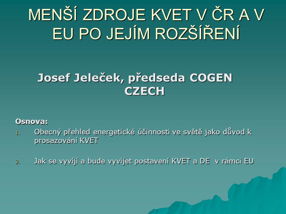 MENŠÍ ZDROJE KVET V ČR A V EU PO JEJÍM ROZŠÍŘENÍ Josef Jeleček, předseda COGEN CZECH Osnova: 1. Obecný přehled energetické účinnosti ve světě jako dův