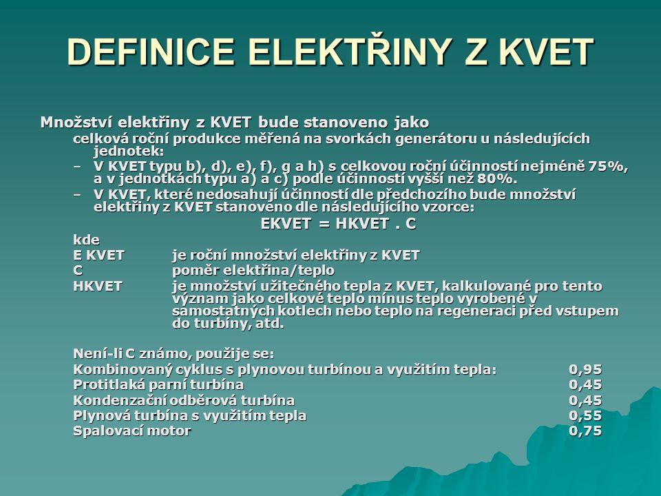 DEFINICE ELEKTŘINY Z KVET Množství elektřiny z KVET bude stanoveno jako celková roční produkce měřená na svorkách generátoru u následujících jednotek: