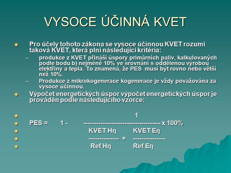 VYSOCE ÚČINNÁ KVET  Pro účely tohoto zákona se vysoce účinnou KVET rozumí taková KVET, která plní následující kritéria: –produkce z KVET přináší úspo