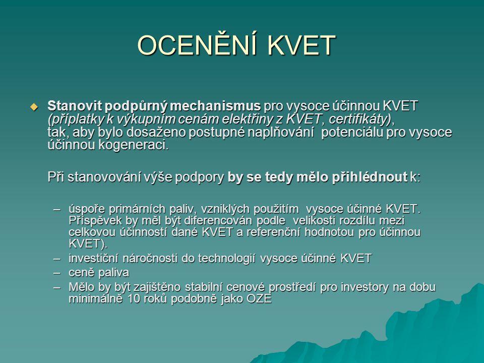 OCENĚNÍ KVET  Stanovit podpůrný mechanismus pro vysoce účinnou KVET (příplatky k výkupním cenám elektřiny z KVET, certifikáty), tak, aby bylo dosažen