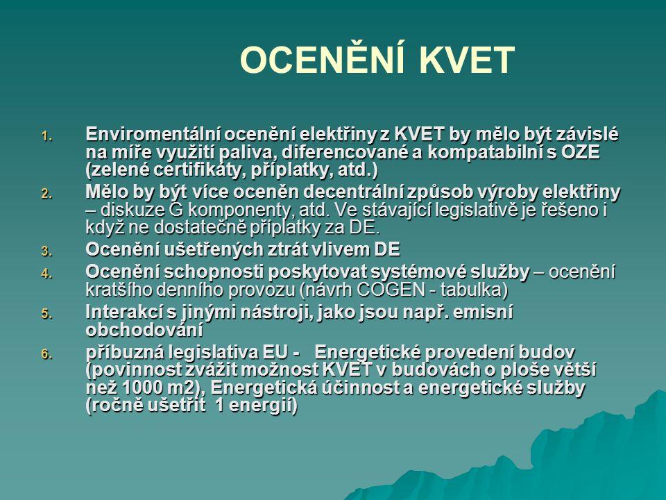 OCENĚNÍ KVET 1. Enviromentální ocenění elektřiny z KVET by mělo být závislé na míře využití paliva, diferencované a kompatabilní s OZE (zelené certifi