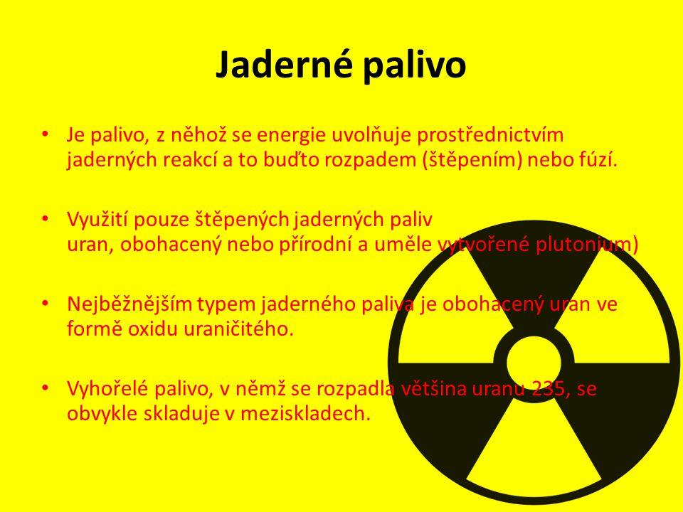 Jaderné palivo Je palivo, z něhož se energie uvolňuje prostřednictvím jaderných reakcí a to buďto rozpadem (štěpením) nebo fúzí. Využití pouze štěpený
