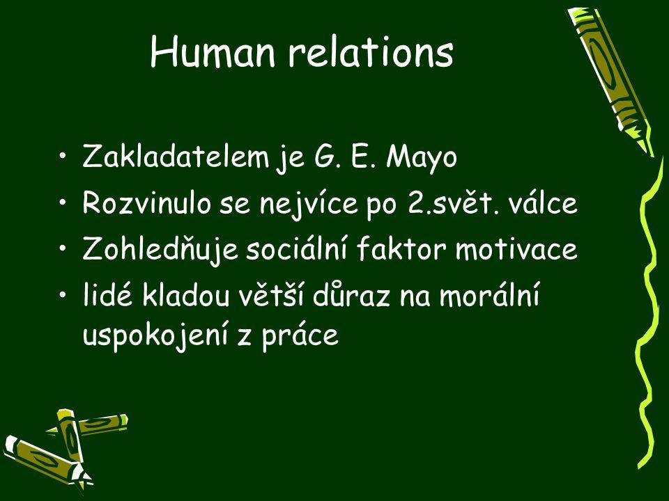 Human relations Zakladatelem je G. E. Mayo Rozvinulo se nejvíce po 2.svět. válce Zohledňuje sociální faktor motivace lidé kladou větší důraz na moráln