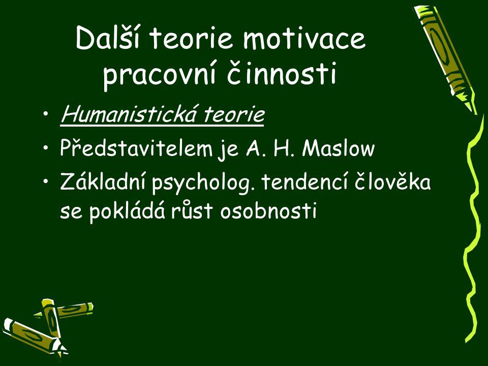 Další teorie motivace pracovní činnosti Humanistická teorie Představitelem je A. H. Maslow Základní psycholog. tendencí člověka se pokládá růst osobno
