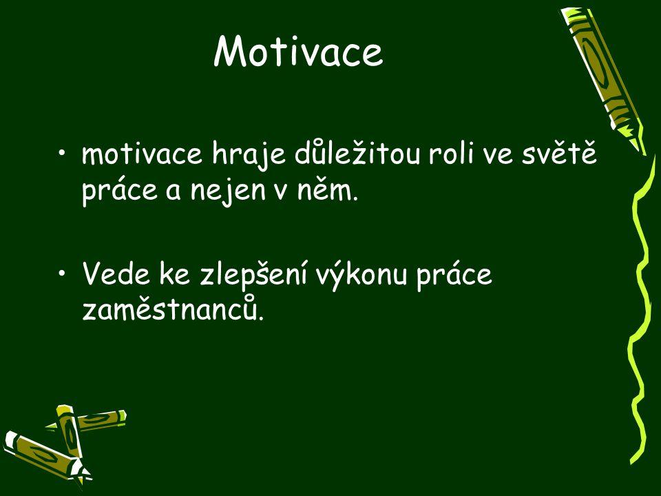 Motivace motivace hraje důležitou roli ve světě práce a nejen v něm. Vede ke zlepšení výkonu práce zaměstnanců.