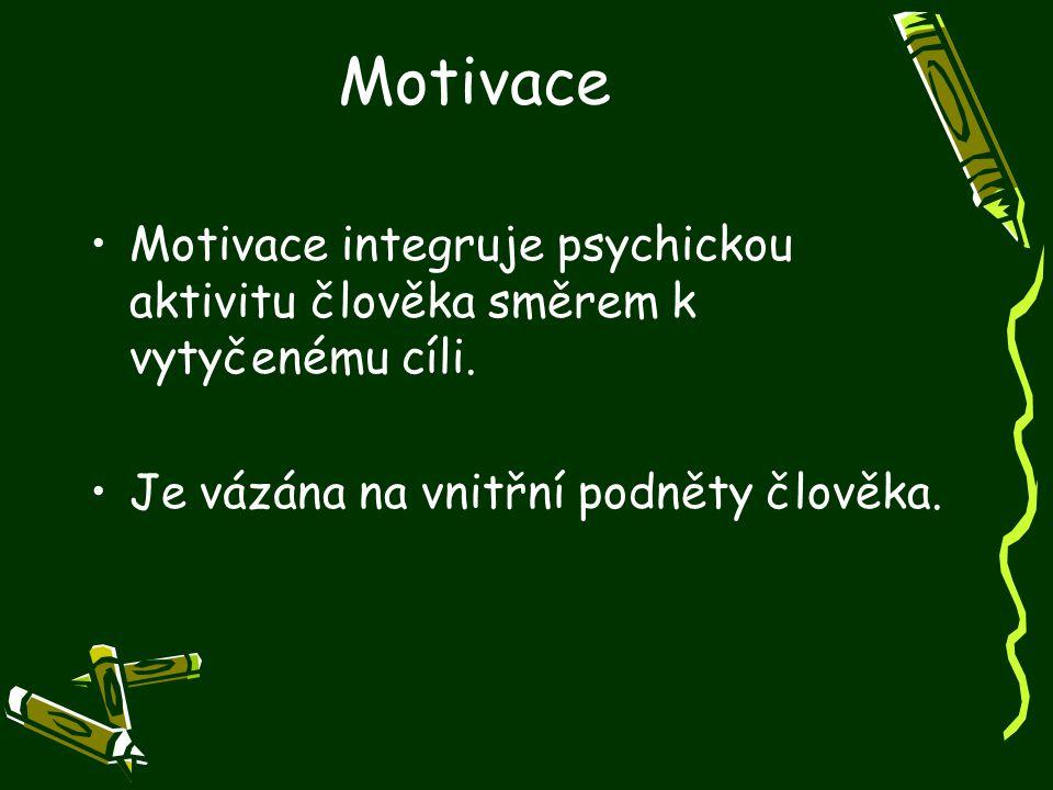Motivace Motivace integruje psychickou aktivitu člověka směrem k vytyčenému cíli. Je vázána na vnitřní podněty člověka.