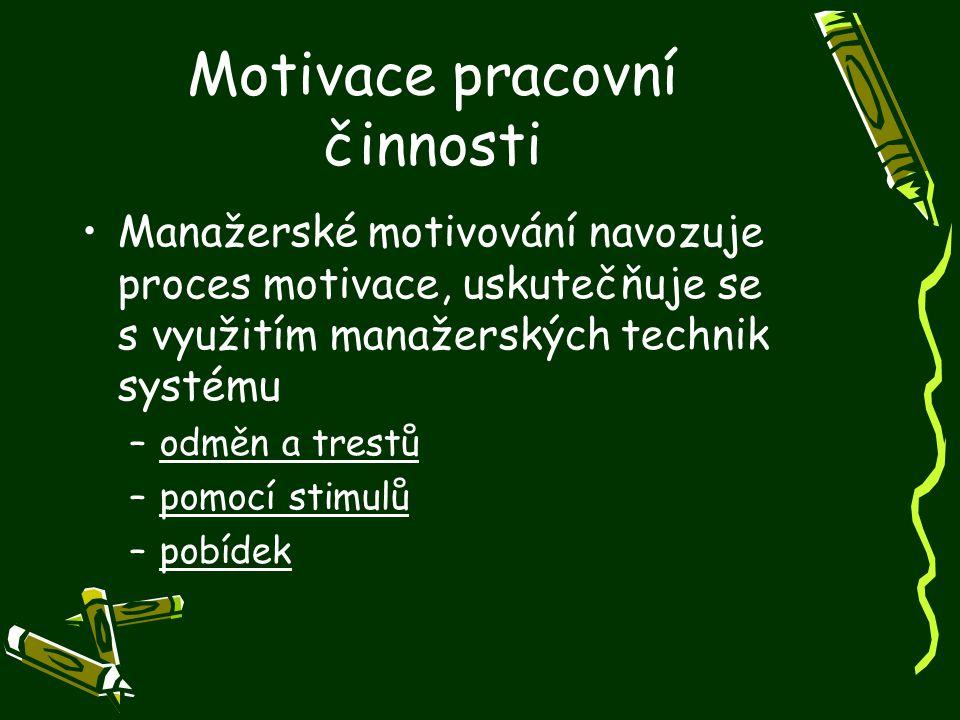 Motivace pracovní činnosti Manažerské motivování navozuje proces motivace, uskutečňuje se s využitím manažerských technik systému –odměn a trestů –pom
