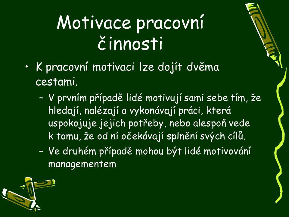 Motivace pracovní činnosti K pracovní motivaci lze dojít dvěma cestami. –V prvním případě lidé motivují sami sebe tím, že hledají, nalézají a vykonáva