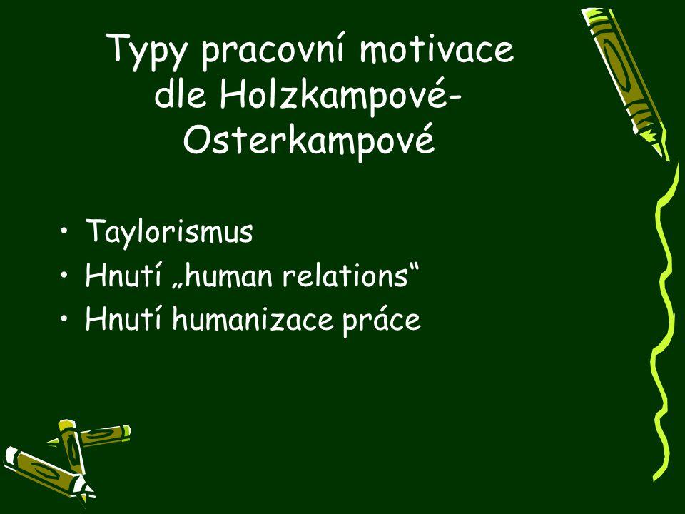 """Typy pracovní motivace dle Holzkampové- Osterkampové Taylorismus Hnutí """"human relations"""" Hnutí humanizace práce"""