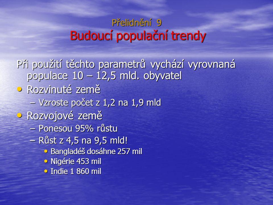 Přelidnění 9 Budoucí populační trendy Při použití těchto parametrů vychází vyrovnaná populace 10 – 12,5 mld.