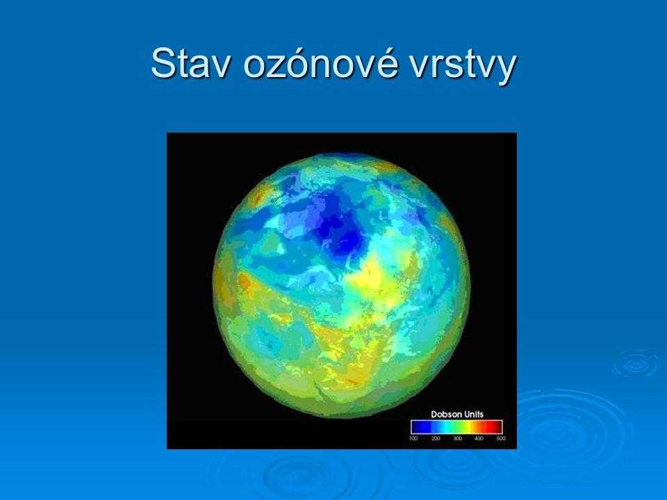 Ozónová díra  Oblasti s menší koncentrací ozónu se nazývají ozónové díry  V takovéto ozónové díře může poklesnout koncentrace ozónu až o 50 %  Nad Hradcem Králové poklesla roku 1992 koncentrace ozónu o 40 %  V ozónové díře dochází k většímu průniku UV záření na zemský povrch