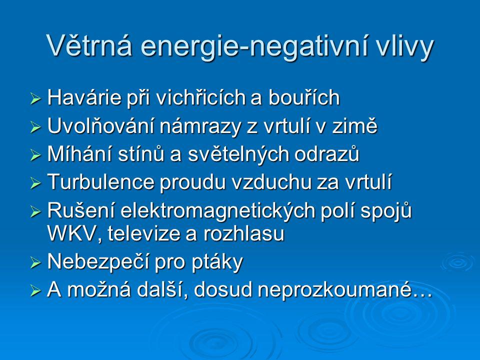 Větrná energie  Rychlost větru ovlivňuje výkon elektráren  Plochy, které jsou vhodné pro stavbu větrných elektráren s velkým výkonem jsou ty, kde rychlost větru převyšuje 6 m/s -1  Rychlost větru v ČR