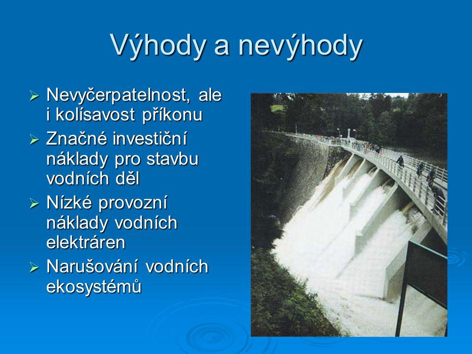 Vodní energie  Druhy vodních elektráren: Průběžná Průběžná Špičková Špičková Přečerpávací Přečerpávací  Ve vodních elektrárnách je k přeměně tlakové a kinetické energie na energii mechanickou použito zařízení, které se nazývá turbína.
