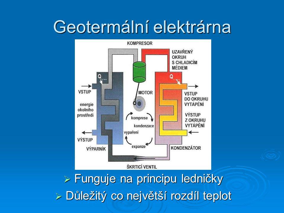 Geotermální energie  Energie využívá přirozené teplo Země  Zdrojem této obnovitelné energie je rozpad radioaktivních prvků v zemském nitru  Druhy elektráren: Vysokoteplotní nad 150°C Vysokoteplotní nad 150°C Středněteplotní 90 - 150°C Středněteplotní 90 - 150°C Nízkoteplotní pod 90°C Nízkoteplotní pod 90°C