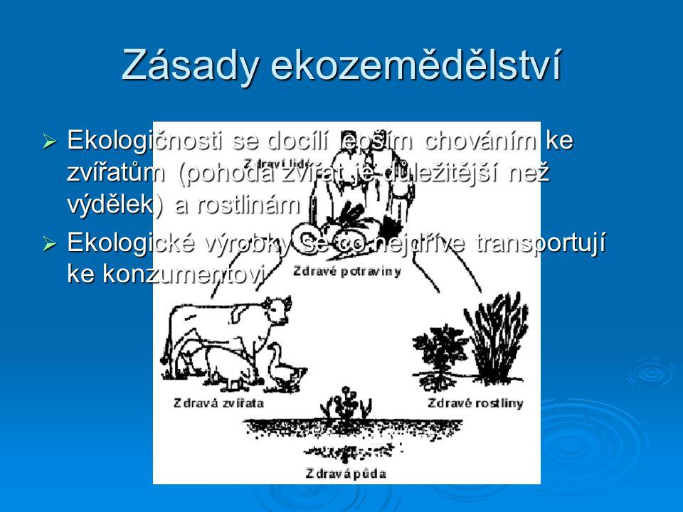 Ekologické zemědělství… NNNNepoužívá pesticidy a herbicidy NNNNepožívá žádná syntetická hnojiva NNNNepoužívá GMO (geneticky modifikované organismy) ZZZZískává energii z obnovitelných zdrojů SSSSnaží se omezovat produkci odpadů ZZZZamezuje kontaminaci ekologických produktů s nepřírodními