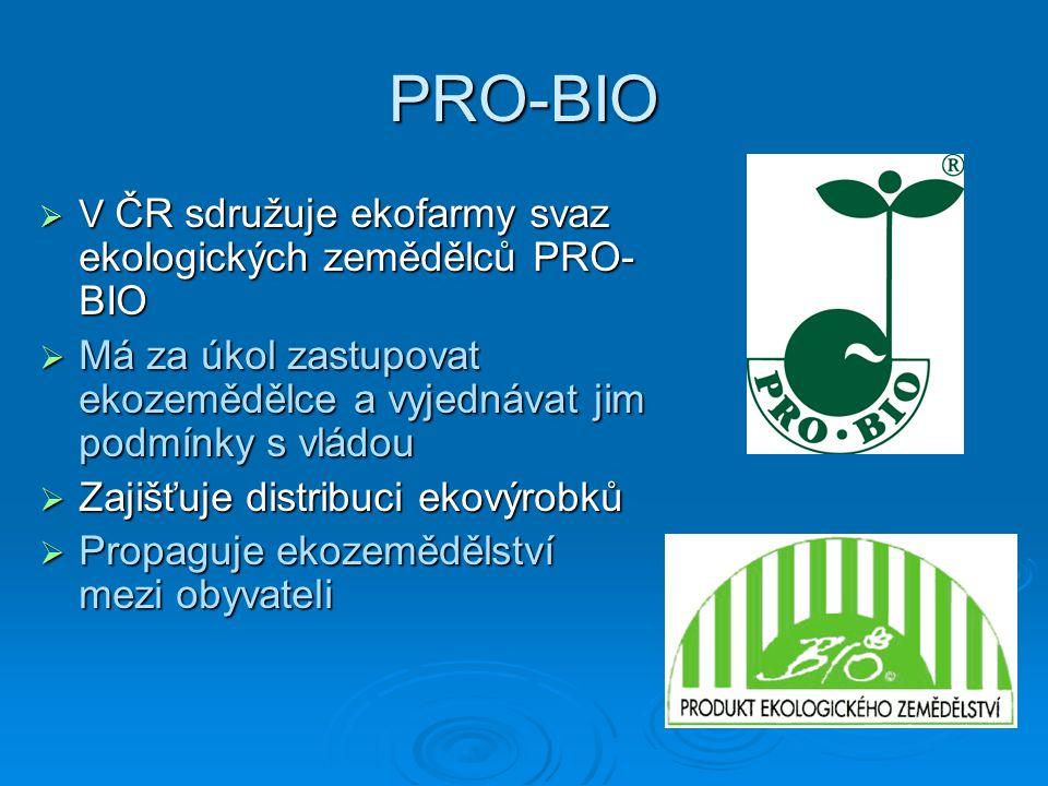 Šetrnost k přírodě  Používají se odrůdy vyšlechtěné pro svou odolnost proti škůdcům, ne pro výnos  Biopásy mezi vegetací zajišťují biodiverzitu, brání erozi a zajišťují hnízdiště ptákům  Ekozemědělci se snaží co nejvíc omezit výjezdy na pole  Na ekofarmách se používají výhradně energie z obnovitelných zdrojů