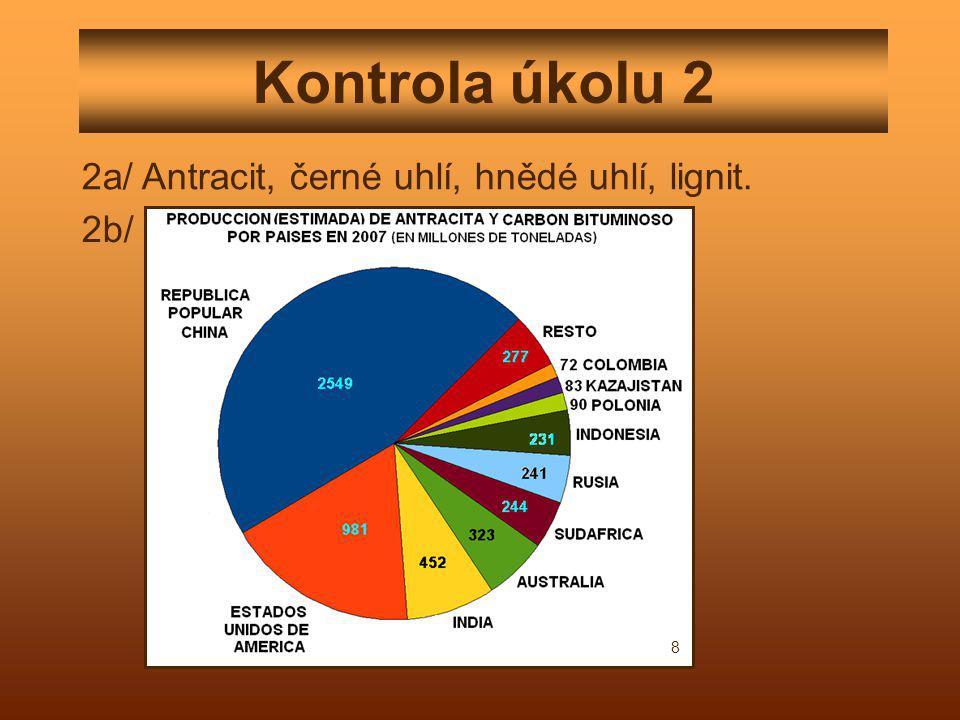 Kontrola úkolu 2 2a/ Antracit, černé uhlí, hnědé uhlí, lignit. 2b/ 8