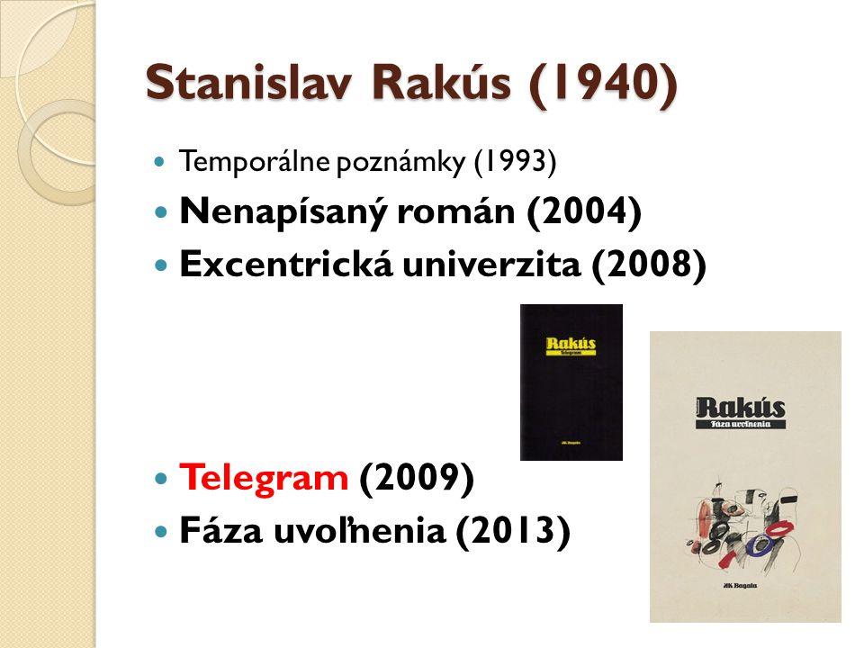 Stanislav Rakús (1940) Temporálne poznámky (1993) Nenapísaný román (2004) Excentrická univerzita (2008) Telegram (2009) Fáza uvoľnenia (2013)