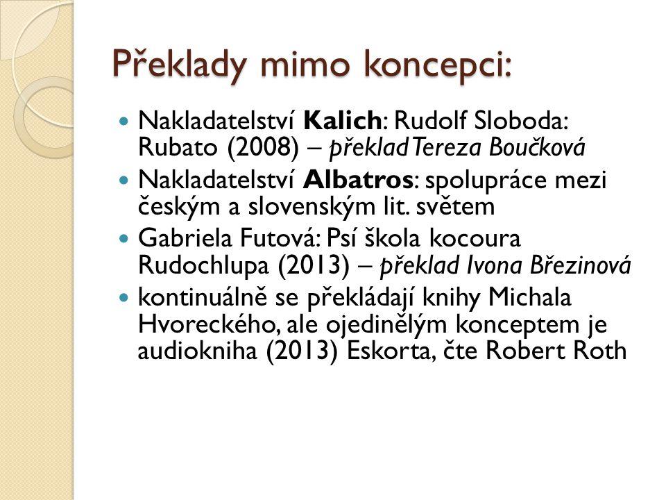 Překladatelé (výběr): Miroslav Zelinský (např.Rankov, Vilikovský) Milan Schulz (např.
