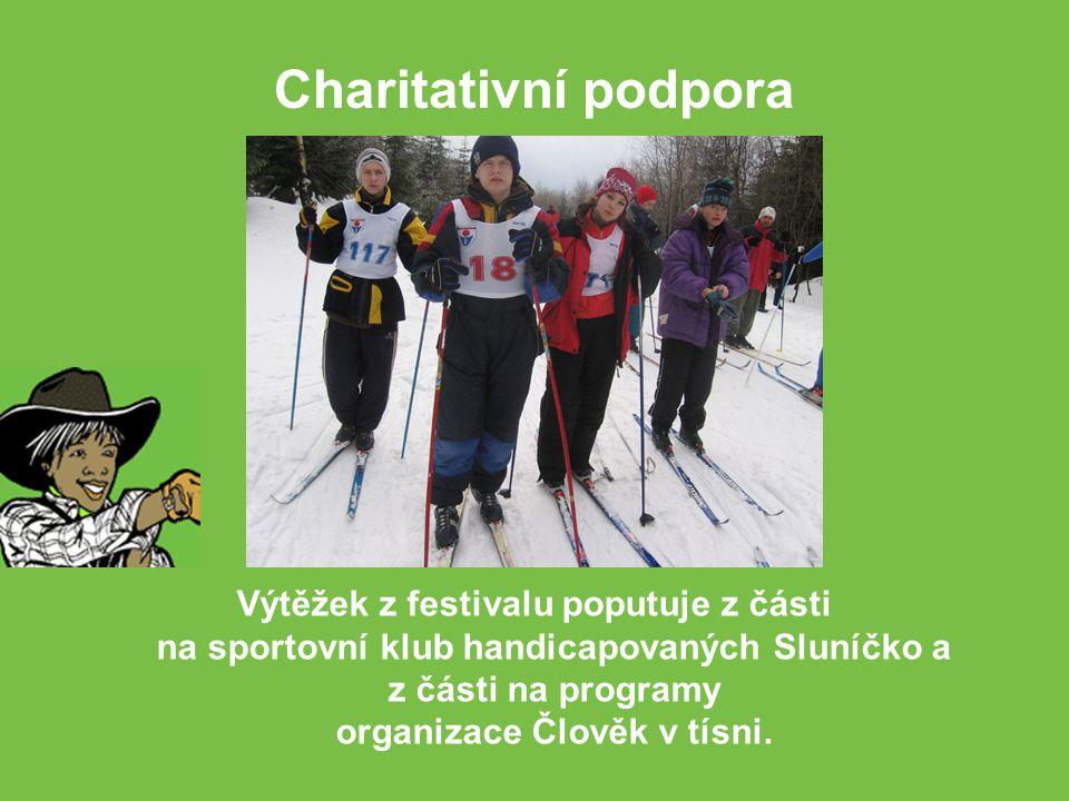 Výtěžek z festivalu poputuje z části na sportovní klub handicapovaných Sluníčko a z části na programy organizace Člověk v tísni.