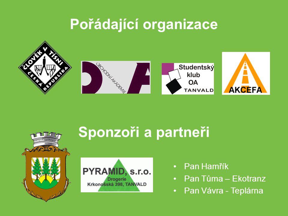 Pořádající organizace Sponzoři a partneři Pan Hamřík Pan Tůma – Ekotranz Pan Vávra - Teplárna