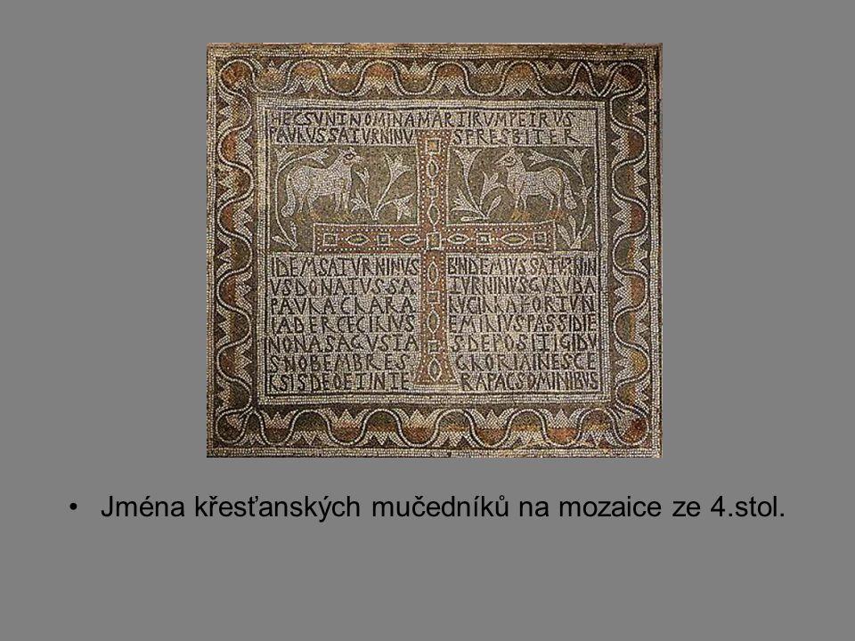 Jména křesťanských mučedníků na mozaice ze 4.stol.