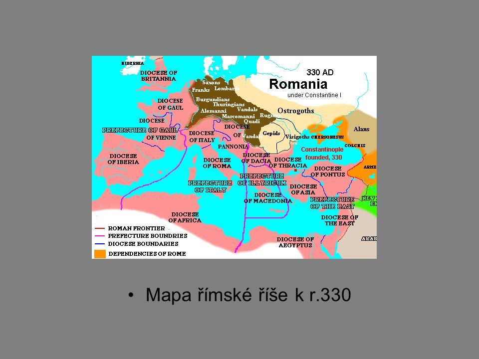 Mapa římské říše k r.330