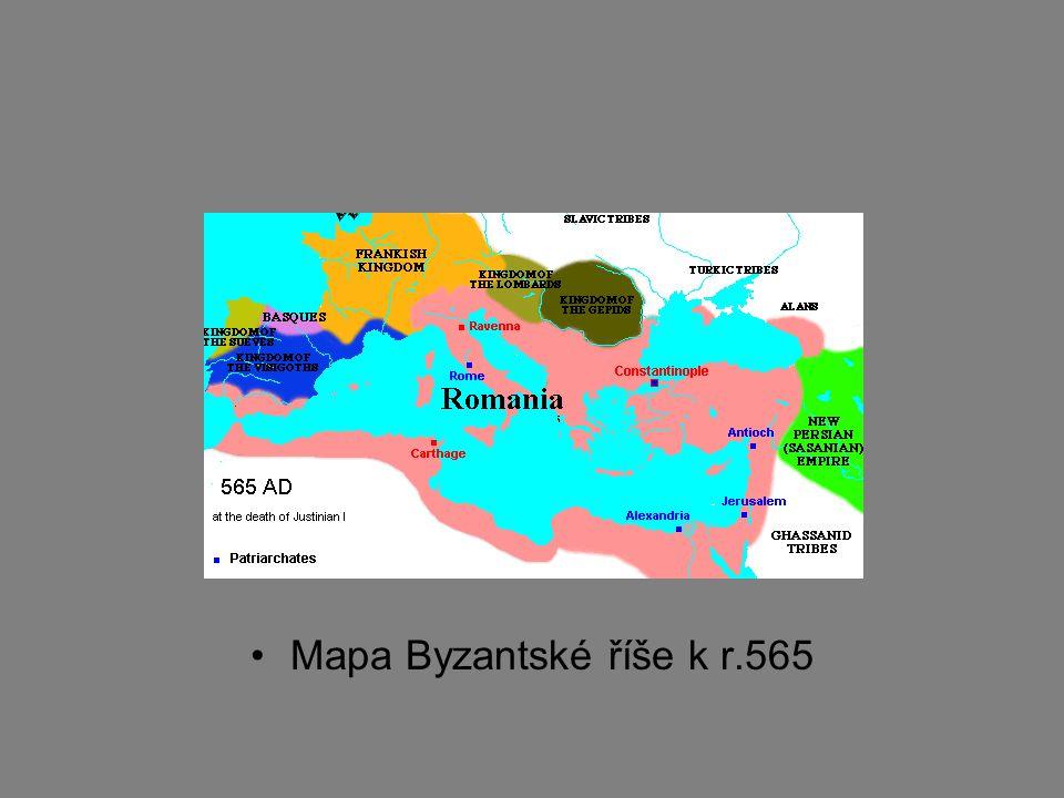 Mapa Byzantské říše k r.565