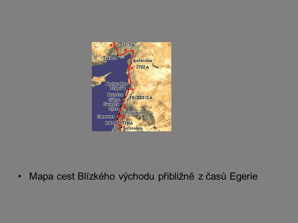 Mapa cest Blízkého východu přibližně z časů Egerie