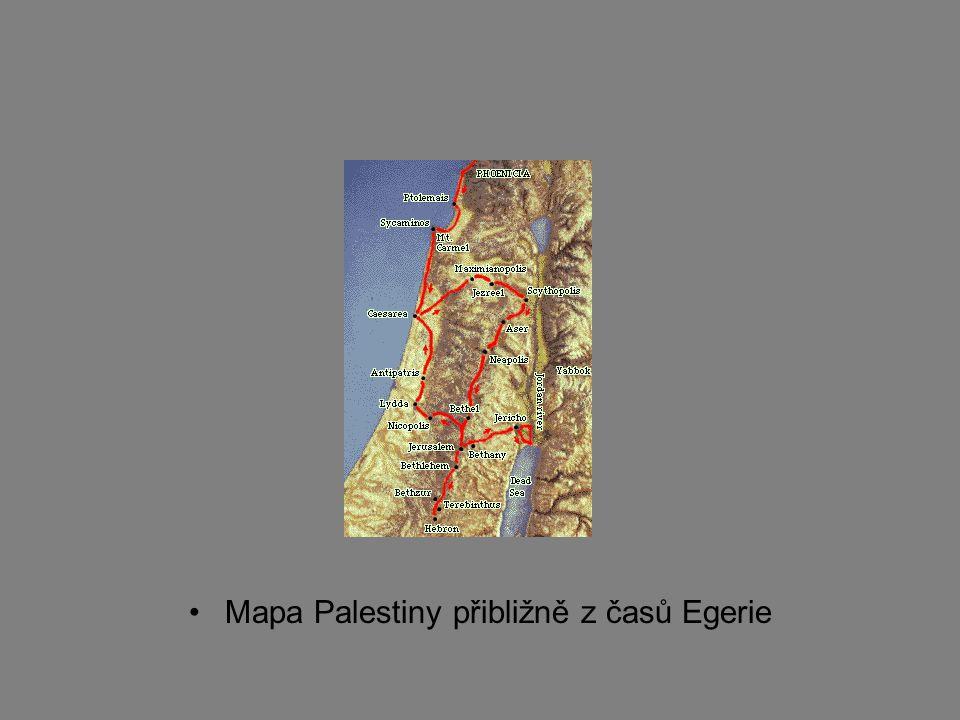 Mapa Palestiny přibližně z časů Egerie