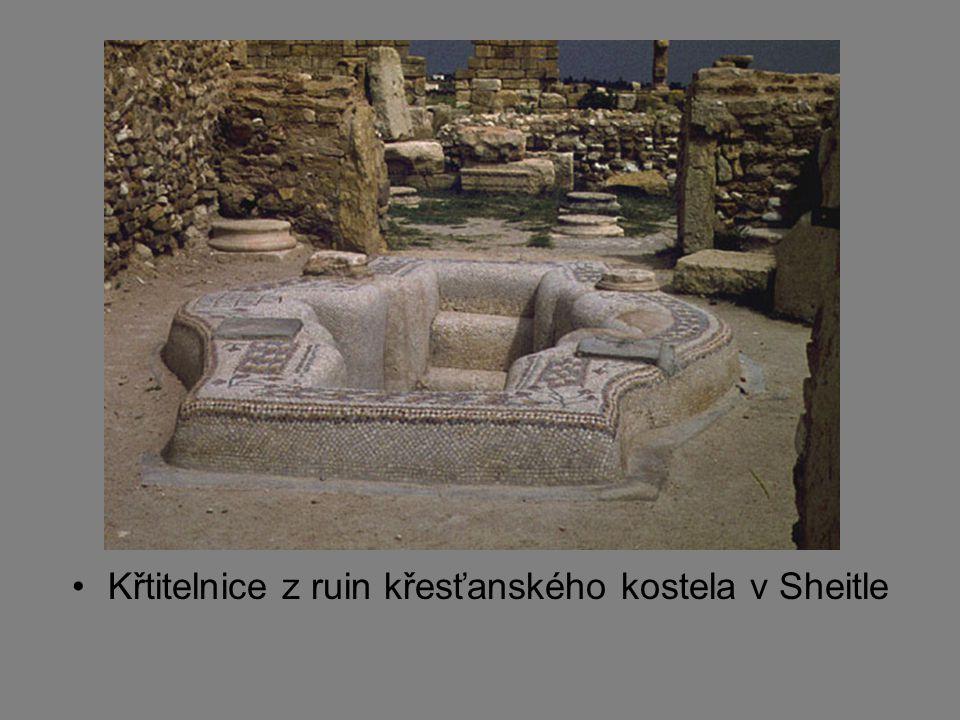 Křtitelnice z ruin křesťanského kostela v Sheitle