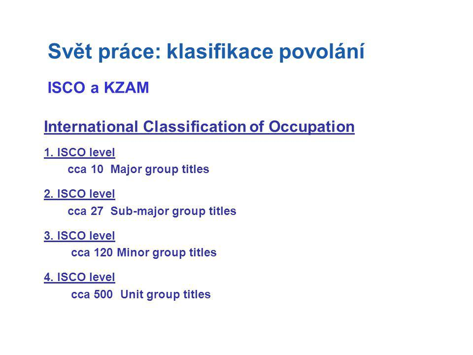 International Classification of Occupation 1. ISCO level cca 10 Major group titles 2. ISCO level cca 27 Sub-major group titles 3. ISCO level cca 120 M