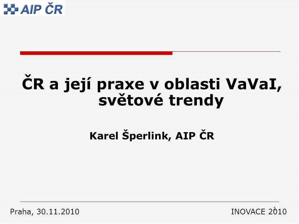1 ČR a její praxe v oblasti VaVaI, světové trendy Karel Šperlink, AIP ČR Praha, 30.11.2010 INOVACE 2010