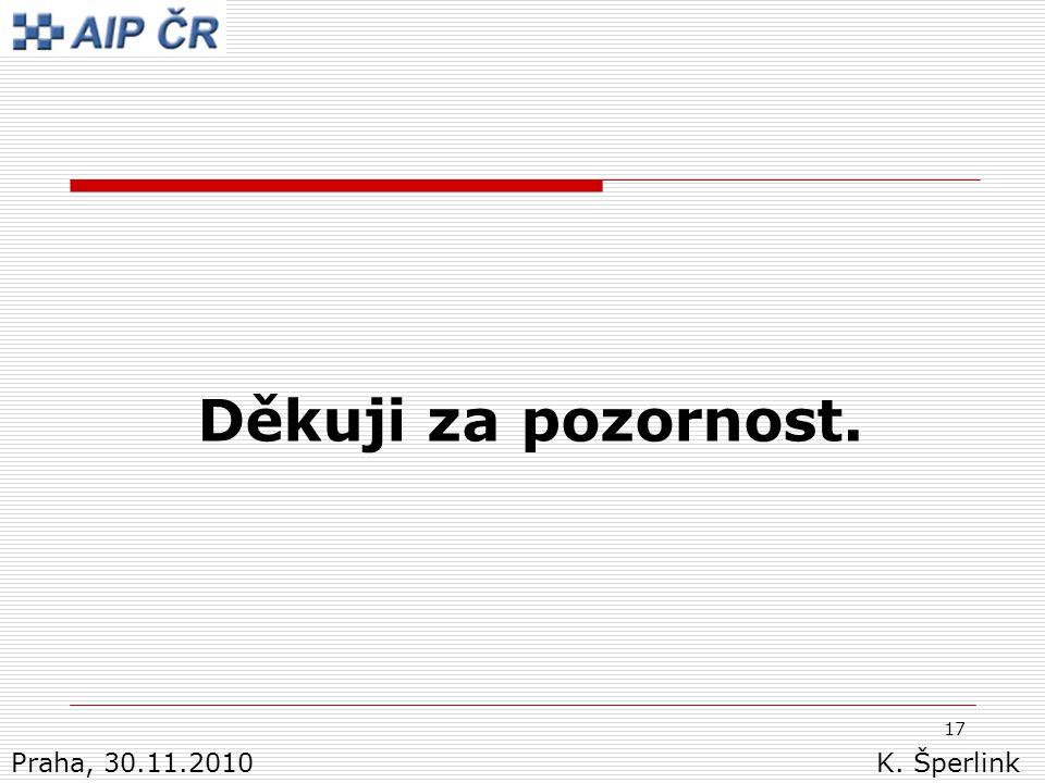 17 Děkuji za pozornost. Praha, 30.11.2010 K. Šperlink