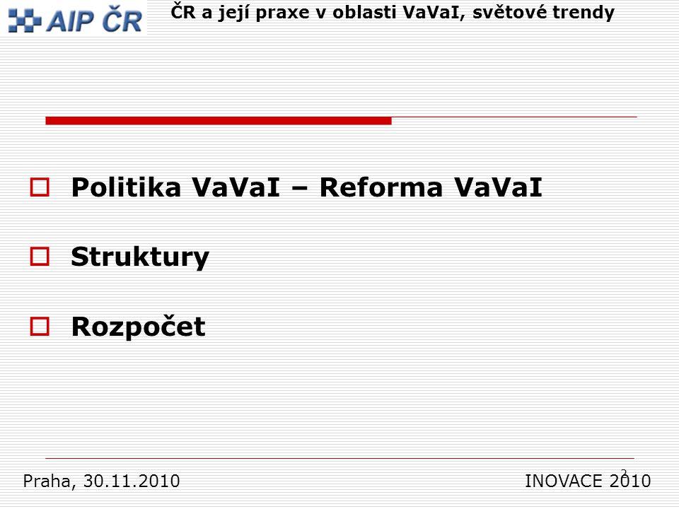 2  Politika VaVaI – Reforma VaVaI  Struktury  Rozpočet Praha, 30.11.2010 INOVACE 2010 ČR a její praxe v oblasti VaVaI, světové trendy