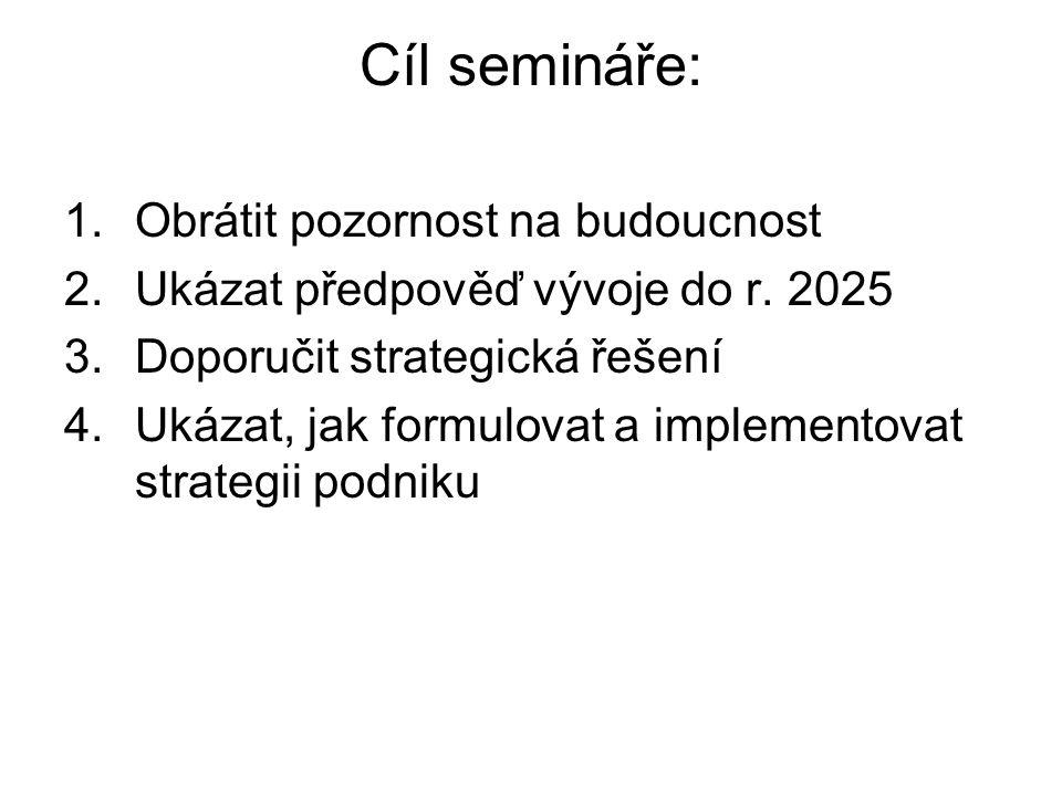 Cíl semináře: 1.Obrátit pozornost na budoucnost 2.Ukázat předpověď vývoje do r. 2025 3.Doporučit strategická řešení 4.Ukázat, jak formulovat a impleme