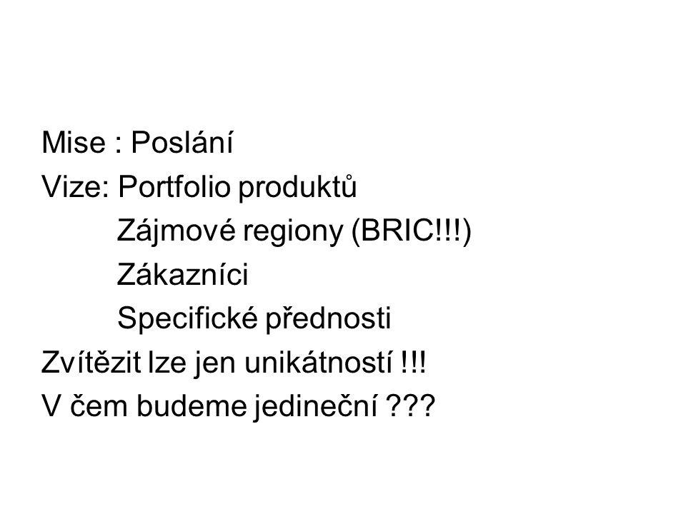 Mise : Poslání Vize: Portfolio produktů Zájmové regiony (BRIC!!!) Zákazníci Specifické přednosti Zvítězit lze jen unikátností !!! V čem budeme jedineč