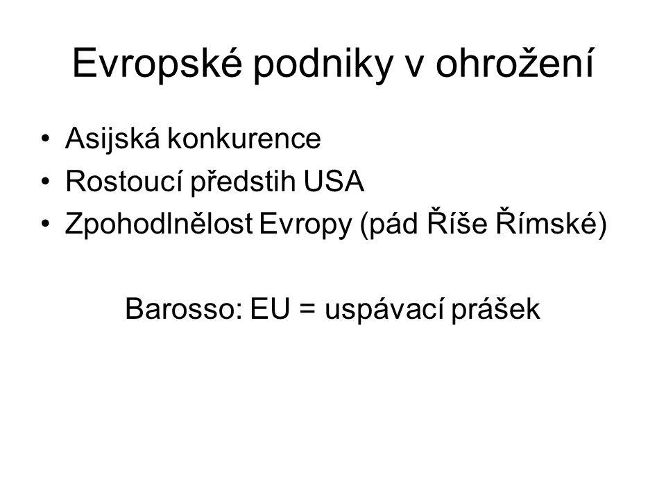Evropské podniky v ohrožení Asijská konkurence Rostoucí předstih USA Zpohodlnělost Evropy (pád Říše Římské) Barosso: EU = uspávací prášek