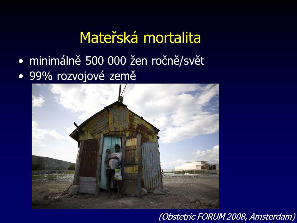 Mateřská mortalita minimálně 500 000 žen ročně/svět 99% rozvojové země (Obstetric FORUM 2008, Amsterdam)