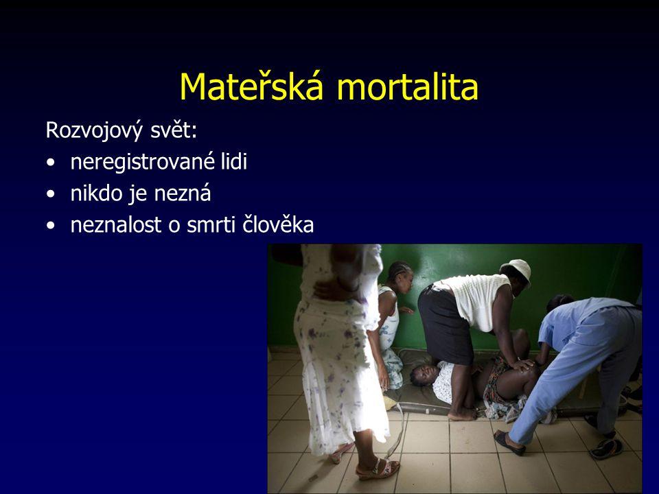 Mateřská mortalita Rozvojový svět: neregistrované lidi nikdo je nezná neznalost o smrti člověka