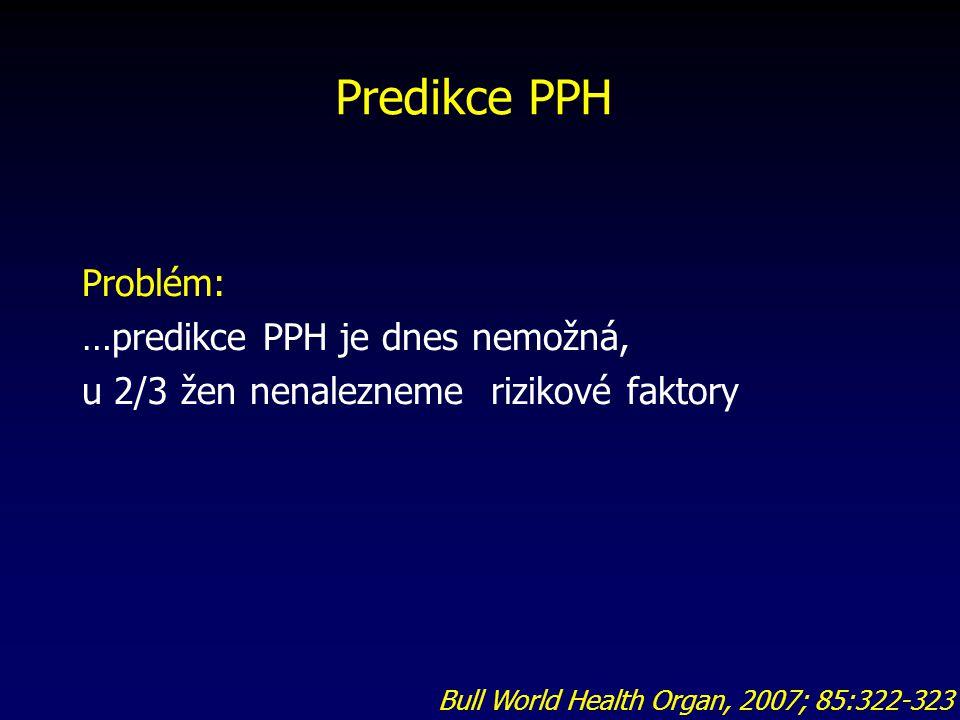 Problém: …predikce PPH je dnes nemožná, u 2/3 žen nenalezneme rizikové faktory Predikce PPH Bull World Health Organ, 2007; 85:322-323