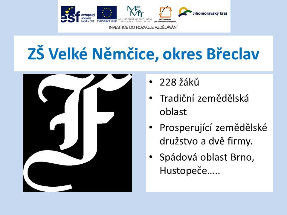 ZŠ Velké Němčice, okres Břeclav 228 žáků Tradiční zemědělská oblast Prosperující zemědělské družstvo a dvě firmy.
