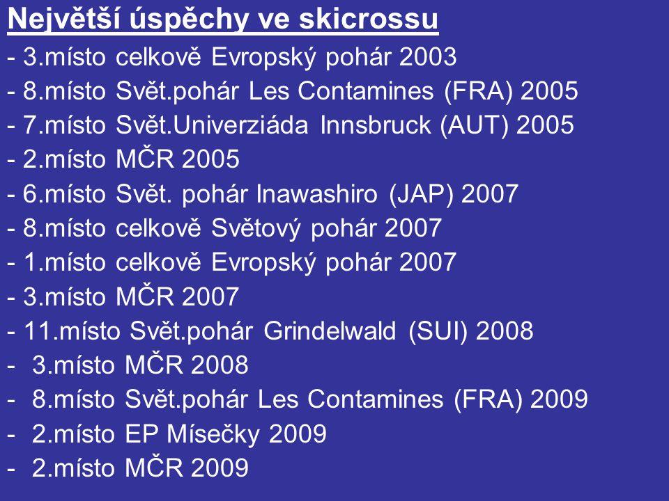 Největší úspěchy ve skicrossu - 3.místo celkově Evropský pohár 2003 - 8.místo Svět.pohár Les Contamines (FRA) 2005 - 7.místo Svět.Univerziáda Innsbruck (AUT) 2005 - 2.místo MČR 2005 - 6.místo Svět.