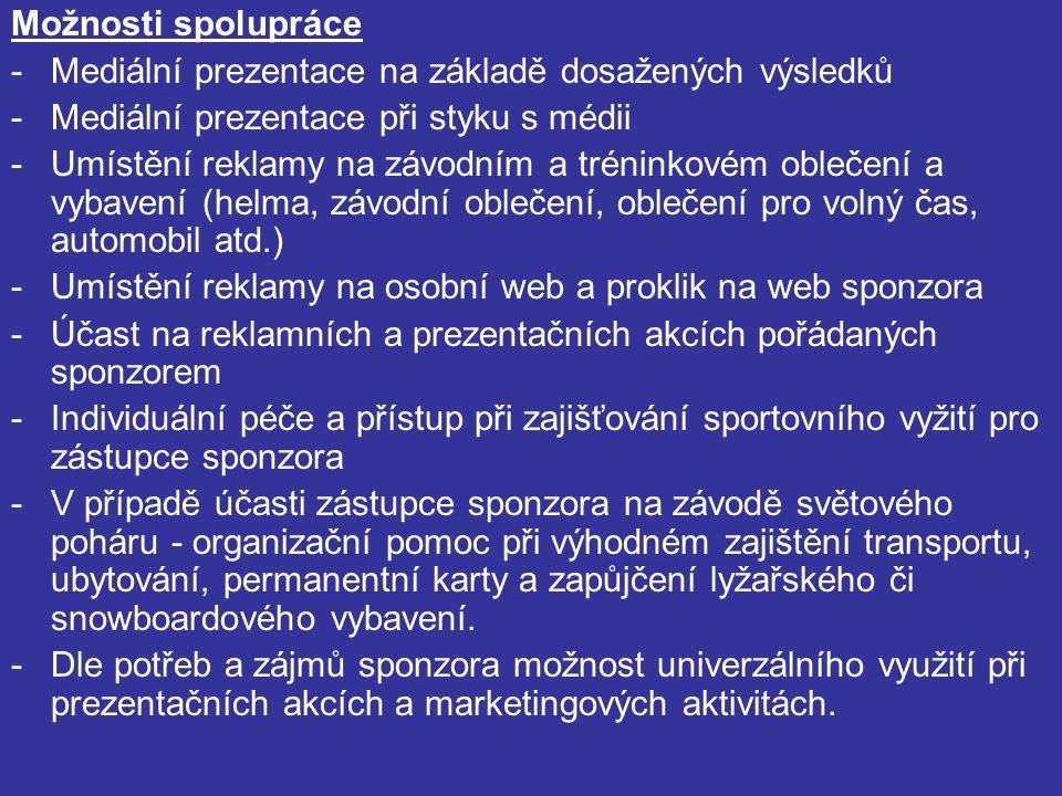 Možnosti spolupráce -Mediální prezentace na základě dosažených výsledků -Mediální prezentace při styku s médii -Umístění reklamy na závodním a tréninkovém oblečení a vybavení (helma, závodní oblečení, oblečení pro volný čas, automobil atd.) -Umístění reklamy na osobní web a proklik na web sponzora -Účast na reklamních a prezentačních akcích pořádaných sponzorem -Individuální péče a přístup při zajišťování sportovního vyžití pro zástupce sponzora -V případě účasti zástupce sponzora na závodě světového poháru - organizační pomoc při výhodném zajištění transportu, ubytování, permanentní karty a zapůjčení lyžařského či snowboardového vybavení.