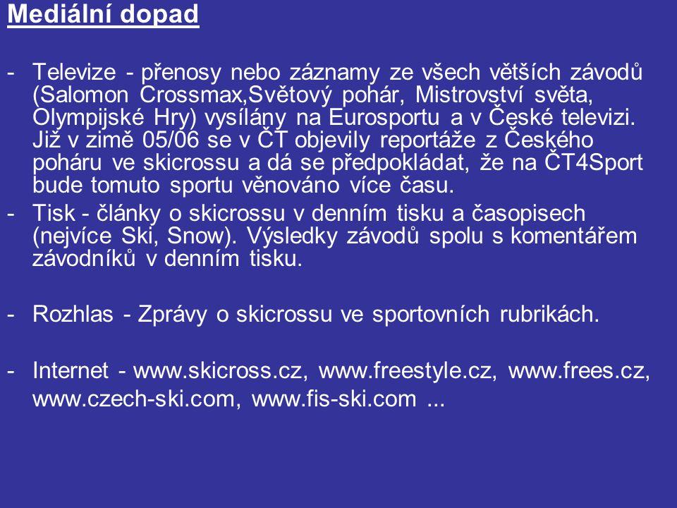 Mediální dopad -Televize - přenosy nebo záznamy ze všech větších závodů (Salomon Crossmax,Světový pohár, Mistrovství světa, Olympijské Hry) vysílány na Eurosportu a v České televizi.